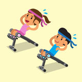 Cartoon a man and a woman using sit up bench Stock Images