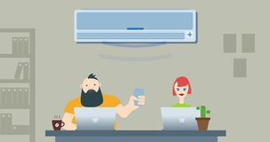 Office war for air conditioning vector illustration