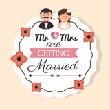cartoon man and woman wedding card vintage design graphic Royalty Free Stock Image
