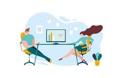 Cartoon Man Woman Worker Office Table Conversation. Cartoon Man and Woman at Office Table Conversation Vector Illustration. Employee Recruitment, Company stock illustration