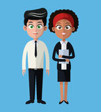 Cartoon man and woman working business team Royalty Free Stock Photo
