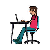 Cartoon man working front computer with pc Royalty Free Stock Photo