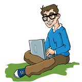 Cartoon of man working on a laptop Royalty Free Stock Photo