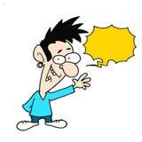 Cartoon Man - Yellow Speech Bubble Royalty Free Stock Images