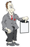 Cartoon manager and clipboard Royalty Free Stock Photo