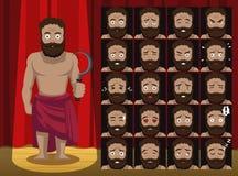 Greek Titan Cronus Costume Cartoon Emotion faces Vector Illustration. Cartoon Manga Style EPS10 File Format Royalty Free Stock Photography