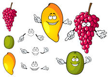 Cartoon mango, grape and kiwi fruits Royalty Free Stock Images