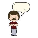 Cartoon manly mustache man with speech bubble Stock Photos