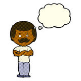 Cartoon manly mustache man with thought bubble Stock Images