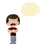 Cartoon manly mustache man with thought bubble Royalty Free Stock Image