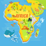 Cartoon map of africa with animals Royalty Free Stock Photography