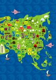 Cartoon map of asia and oceania in vector Stock Photo