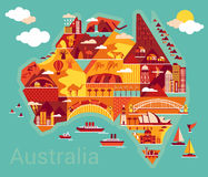 Cartoon map of Australia Royalty Free Stock Images