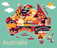 Cartoon map of Australia Royalty Free Stock Image