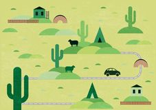 Cartoon map. With cactus and wigwam Stock Image