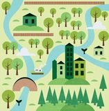 Cartoon map. With forest and river Royalty Free Stock Images