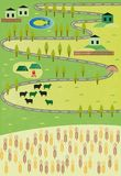 Cartoon map. With grain and village Stock Photography