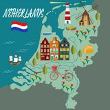 Cartoon Map of Holland with Legend Icons. Illustration for travel guide, poster or apparel design stock illustration