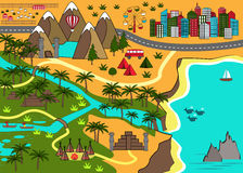 Cartoon map with interesting adventure objects stock illustration