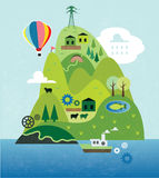 Cartoon map with island. Cartoon map with river, mountain and houses Stock Images
