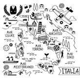 Cartoon Map of Italy Royalty Free Stock Photo