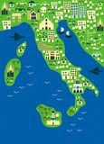 Cartoon map of italy in vector. Map of Italy with sights by regions Royalty Free Stock Photography