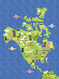 Cartoon Map Of North America In Vector Royalty Free Stock Photo