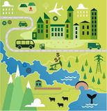 Cartoon map. With river and city Stock Images