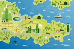 Cartoon map. With river, mountain and houses Royalty Free Stock Image