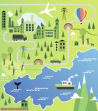 Cartoon map. With river, mountain and houses Royalty Free Stock Images
