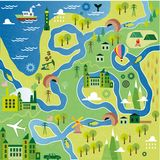 Cartoon map. With river, mountain and houses Stock Photos