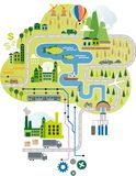 Cartoon map. With river, mountain and houses Royalty Free Stock Photo