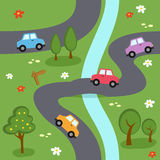 Cartoon Map Seamless Pattern. An abstract seamless pattern with a cartoon map with colorful cars, trees, flowers and a river in a country landscape. Useful also stock illustration