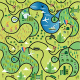Cartoon map. Seamless pattern with roads Royalty Free Stock Image