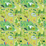 Cartoon map. Seamless pattern with roads stock illustration