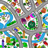 Cartoon map seamless pattern. Royalty Free Stock Photography