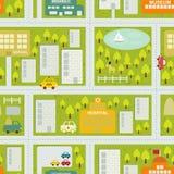 Cartoon map seamless pattern of summer city. vector illustration