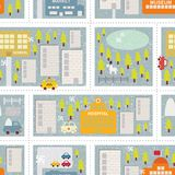 Cartoon map seamless pattern of winter city. Stock Photos