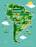 Cartoon map of South America Royalty Free Stock Image