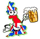 Cartoon map of United Kingdom with beer. Cartoon caricature of map of United Kingdom with Union Jack flag holding pint of bitter beer Stock Photo