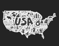 The cartoon map of USA. The map with the symbols of USAvector illustration stock illustration