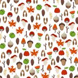 Vector seamless woodland pattern. Cartoon maple seeds and apples, tree branches and autumn leaves, mushrooms and fir-cones, flowers, acorns and chestnuts Royalty Free Stock Photo
