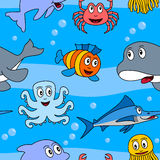 Cartoon Marine Animals Seamless [2] Royalty Free Stock Photos
