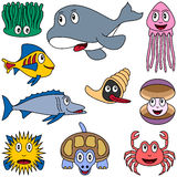 Cartoon Marine Animals Set [2]. Collection of ten funny cartoon marine animals (alga, orca, jellyfish, mollusc or shellfish, oyster, sea turtle, crab and fishes Stock Photo