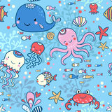 Cartoon marine seamless pattern for childish wallpapers. Royalty Free Stock Image