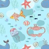 Cartoon marine seamless pattern for design.  stock illustration