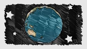 Cartoon marker drawn planet earth globe stars spin on white blackboard background seamless endless loop animation new. Drawn planet earth globe spin on white old stock video