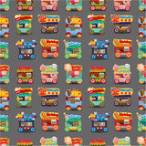 Cartoon market store car seamless pattern. Vector,illustration Royalty Free Stock Image
