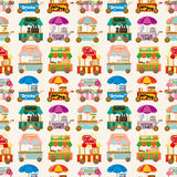 Cartoon market store car seamless pattern. Vector,illustration Royalty Free Stock Images