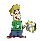 Cartoon marking day on a calendar Royalty Free Stock Image